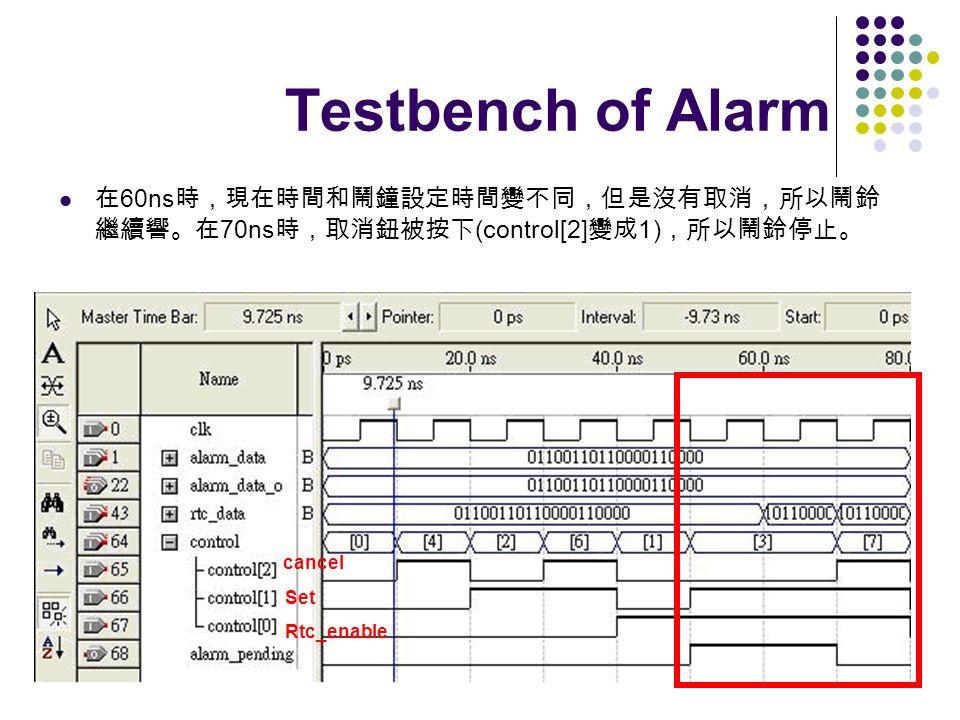 Testbench of Alarm 在60ns時,現在時間和鬧鐘設定時間變不同,但是沒有取消,所以鬧鈴繼續響。在70ns時,取消鈕被按下(control[2]變成1),所以鬧鈴停止。 cancel.